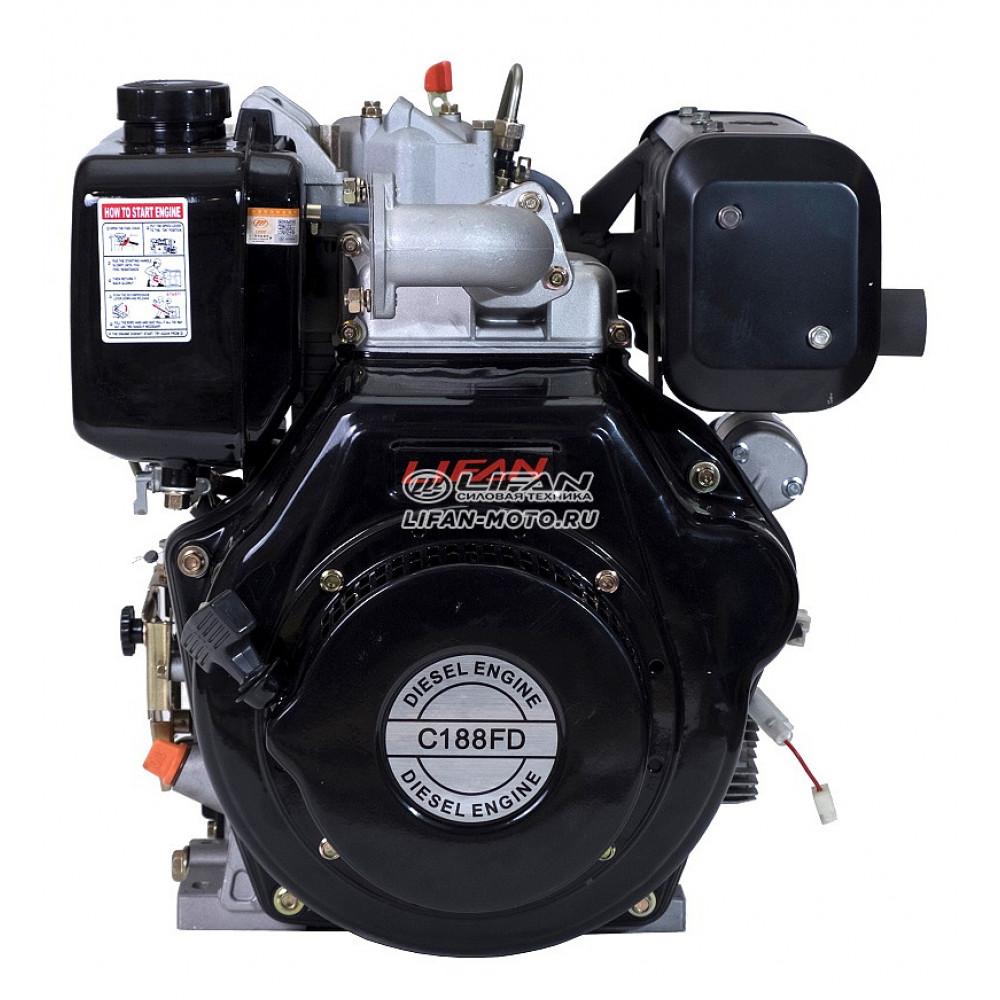 Двигатель Lifan 188FD Diesel, вал Ø25 мм, катушка 6 Ампер